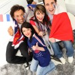 Ecstatic French soccer supporters - Stock Photo