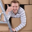 Stock Photo: Factory worker emerging from cardboard boxes