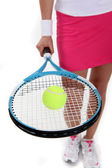 Tennis player with racket — Stock Photo