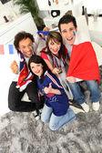 Partidarios del fútbol francés extático — Foto de Stock