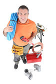 Plumber with tools of the trade — Stock Photo