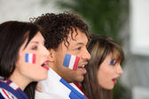Franska anhängare skriker — Stockfoto