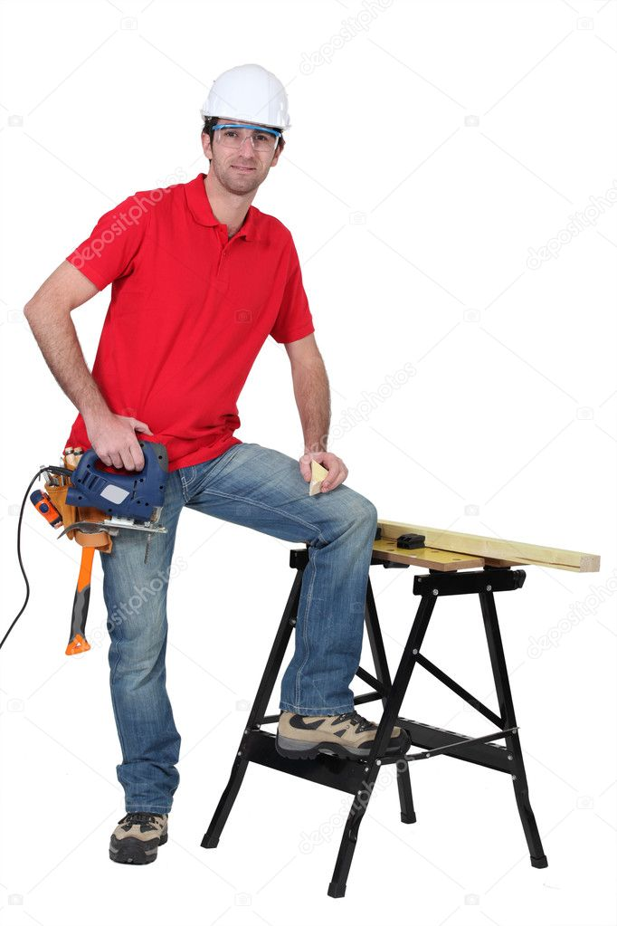 Carpenter with band saw — Stock Photo #11044575