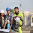 A team of construction workers — Stock Photo