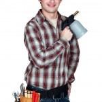 Man holding blowtorch — Stock Photo