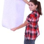 Woman looking at wallpaper — Stock Photo #11050863