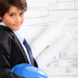Foto Stock: Boy dressed as architect