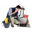 Man ordering extra tiles to complete job — Stock Photo #11053089