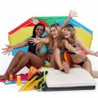 Stock Photo: Young women at the beach, studio shot