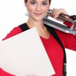 Young woman with a tile cutter — Stock Photo #11058006