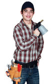 Man holding blowtorch — Stock Photo