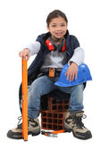 A little girl construction worker. — Stock Photo