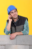 Mason on the phone — Stock Photo