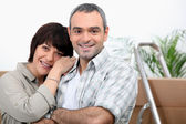 Couple settled in the house — Stock Photo