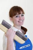 Woman paperhanger — Stock Photo