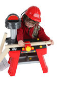 Little boy playing with carpentry toy — Stock Photo