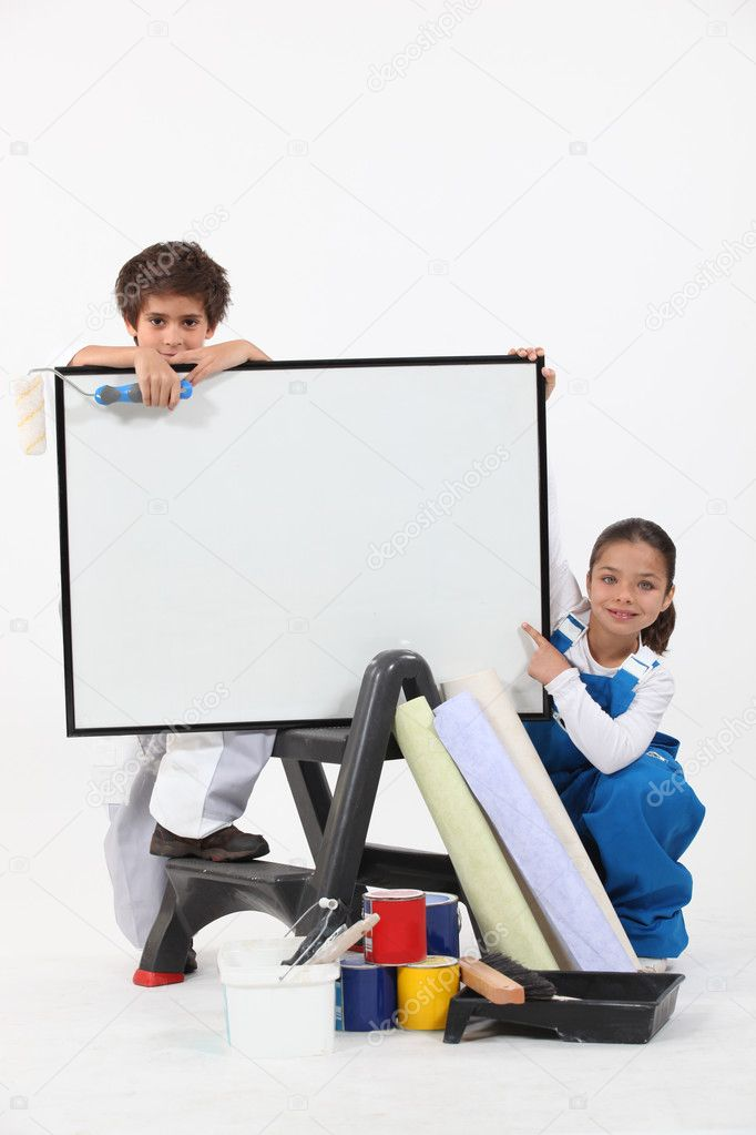 Two children pretending to be decorating — Stock Photo #11054228