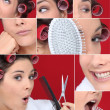 Montage of brunette styling her hair — Stock Photo #11060834