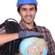 Stock Photo: Tradesman, key to globalization