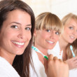 Three female house mates brushing their teeth — Stock Photo
