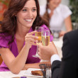 Couple toasting with champagne — Stock Photo