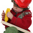 Little boy dressed an manual worker — Stock Photo