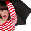 Funky woman with an umbrella — Stock Photo