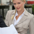 Blond woman wearing suit — Stock Photo