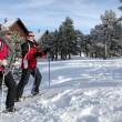 Couple skiing by chalets — Stock Photo #11066686