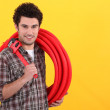 Plumber with wrench — Stock Photo #11067088