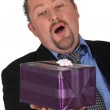 Stock Photo: Msurprised at having received gift