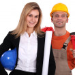 Female architect with builder — Stock Photo