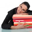 Businesswoman holding a pile of folders — Stock Photo #11067833