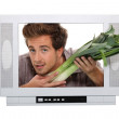 Man holding leek coming out of television — Stock Photo #11067859