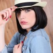 Stock Photo: Brunette woman with hat