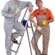 Stock Photo: Two painter working together