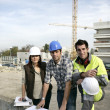 Foto Stock: A team of construction workers working together
