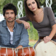 Youth with drums — Stock Photo