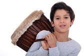 Boy with a bongo — Stock Photo