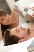 Couple going to bed — Stock Photo