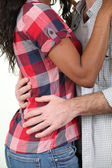 Mixed race couple hugging — Stock Photo