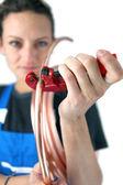 Tradeswoman inserting a copper tube into a clamp — Stock Photo