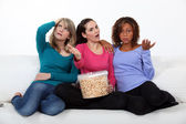 Women disappointed by the end of a movie — Stock Photo