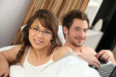 Couple waking up — Stock Photo