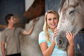 Young woman stroking her horse — Stock Photo
