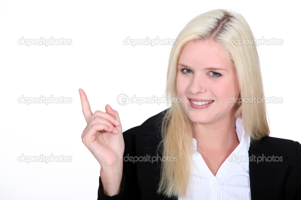 Woman pointing her finger — Stock Photo #11063596
