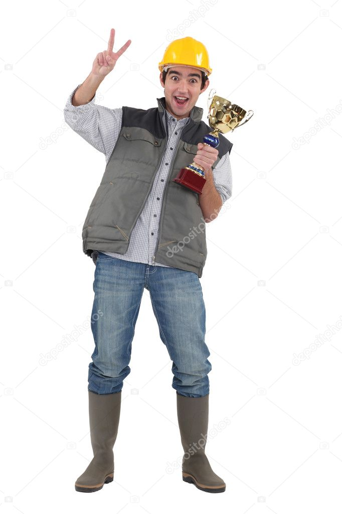 Construction worker with an award — Stock Photo #11066896