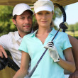 Stock Photo: Couple game golf