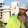Foreman with a walkie talkie — Stock Photo