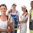 Stock Photo: Group of four apprentices in construction industry